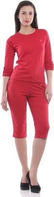 Ultrafit Ns2pcs Women's Solid Red T-shirt & Three-forth Set