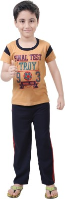 Be 13 Boy's Printed Beige Top & Pyjama Set