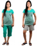 CKL Women's Striped, Solid Green, Grey T...