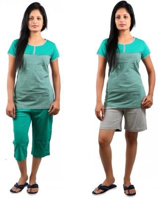 CKL Women's Striped, Solid Green, Grey Top & Capri Set, Top & Shorts Set
