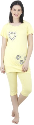 Camey Women's Printed Yellow Top & Capri Set