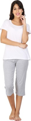 Click Hit Softle Top Payjama set Women's Solid White, Grey T-shirt & Three-forth Set