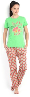 July Comfy Cotton Designer Two Piece Women's Printed Green, Red Top & Pyjama Set
