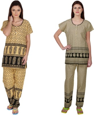 Simrit Women's Printed Black, Black Top & Pyjama Set