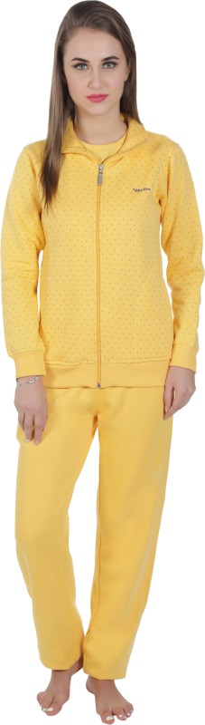 Valentine Women's Polka Print Yellow Top & Pyjama Set