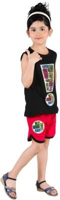 Bella & Brat Girl's Printed Black, Pink Top & Shorts Set