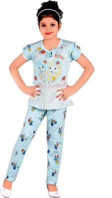 Chocoberry Strawberry Girl's Printed Light Blue Top & Pyjama Set