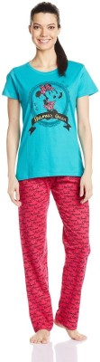 Disney by July Comfy Cotton Designer Two Piece Women's Printed Blue, Pink Top & Pyjama Set