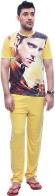 Penguin Men's Self Design Yellow, Black Top & Pyjama Set