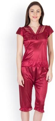 Oleva Women's Self Design Maroon Top & Capri Set