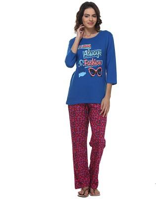 wako Women's Printed Blue Top & Pyjama Set