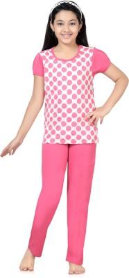 Kombee Girl's Printed White, Pink Top & Pyjama Set