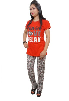 Indiatrendzs Women's Printed Red Top & Pyjama Set