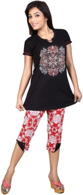 Ruok Women's Printed Black Top & Capri Set