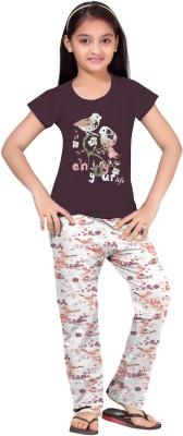 So Sweety Girl's Printed Purple Top & Pyjama Set