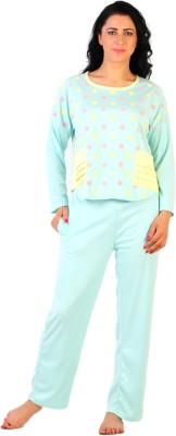 La Zoya Women's Polka Print Light Green Top & Pyjama Set
