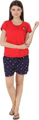 Fragrance Women's Solid Red Top & Shorts Set