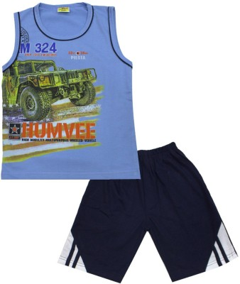 Kid's Care Boy's Printed Blue Top & Shorts Set