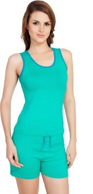 SOIE Women's Solid Dark Green, Dark Blue Top & Shorts Set