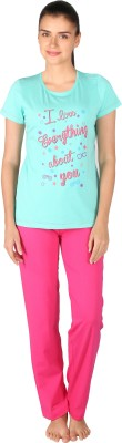 Lazy Dazy Women's Printed Green, Pink Top & Pyjama Set