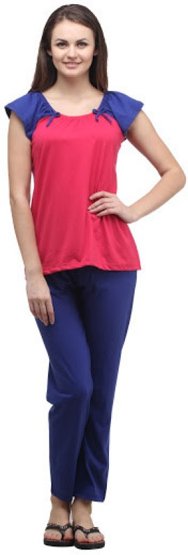 Klamotten Women's Solid Multicolor Top & Pyjama Set