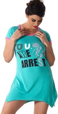 Shyle Women's Graphic Print Green Sleepshirt