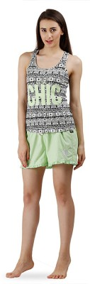 The Boxer Store Women's Printed Green Top & Shorts Set
