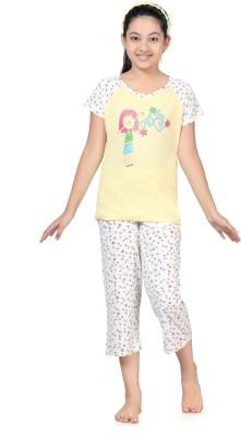 Kombee Girl's Printed Yellow, White Top & Capri Set