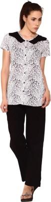 Softwear Women's Printed Black Top & Pyjama Set
