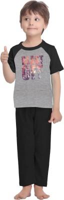 La Dreamz Boy's Solid Multicolor Top & Pyjama Set