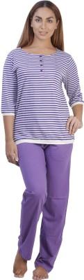 Disney by July Cotton Two Piece Women's Striped Purple, White Top & Pyjama Set