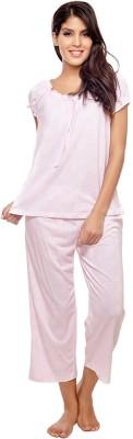 Penny by Zivame Women,s Floral Print Pink Top & Capri Set