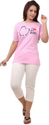 Div Women's Printed Pink Top & Capri Set