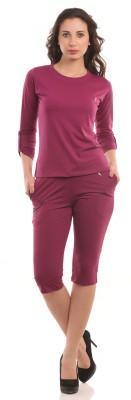Ultrafit Ns2pcs Women's Solid Maroon T-shirt & Three-forth Set