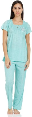 Squirrel Women's Solid Green Top & Pyjama Set