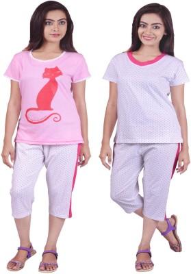 Limeberry Night Suit Women's Printed Multicolor Top & Capri Set