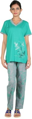 Elite Women's Printed Green Top & Pyjama Set