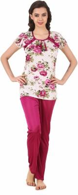 Masha Women's Printed Maroon Top & Pyjama Set