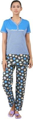Informal Wear Women's Striped Blue Top & Pyjama Set