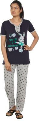 Star Gallery Women's Printed Black, Grey Top & Pyjama Set