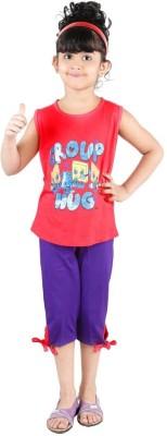Bella & Brat Girl's Printed White, Purple Top & Shorts Set