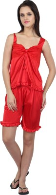 Teleno Night Women's Solid Red Top & Shorts Set