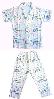 Smilee Boys Printed Blue Top & Pyjama Set
