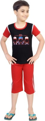 Be 13 Boy's Self Design Black Top & Capri Set