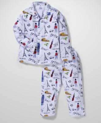 Ollypop Boy's Printed Multicolor Top & Pyjama Set