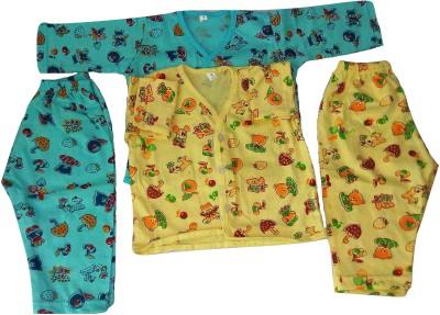 Thakkar Baby Boy's Printed Blue, Yellow Top & Pyjama Set
