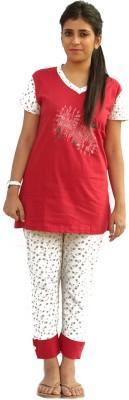 Vixenwrap Women's Printed White, Red Top & Capri Set