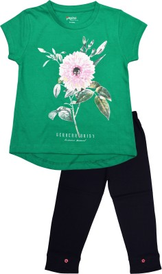 Pepito Girl's Printed Green Top & Pyjama Set