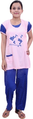 Krazzy Collection Fashion Women's Embroidered Pink, Blue Top & Pyjama Set