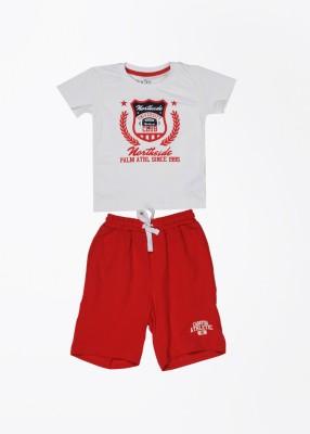 Palm Tree Baby Boy's Printed White Top & Shorts Set